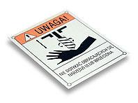 Tabliczka ostrzegawcza NIE DOTYKAĆ OBRACAJĄCEGO SIĘ WRZECIONA