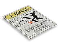 Tabliczka ostrzegawcza NIE OTWIERAĆ DRZWI W TRAKCIE PRACY