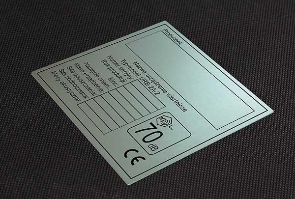 Nieścieralna i chemicznie odporna tabliczka CE
