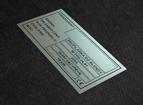 Tabliczka znamionowa metalowa do profilarki blendy