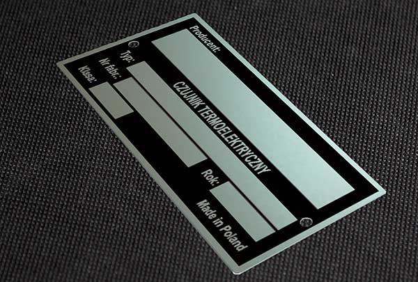 Tabliczka znamionowa do czujnika termoelektrycznego