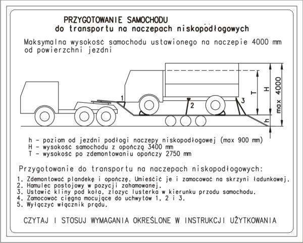 Tabliczka ze schematem transportu samochodu ciężarowego na naczepach niskopodłogowych