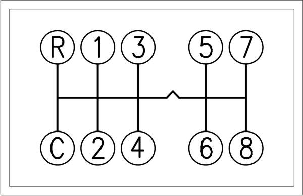 Tabliczka ze schematem działania skrzyni biegów