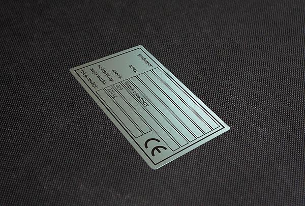 Tabliczka znamionowa CE do wózka ogrodniczego. Rozmiar 9x4 cm, grubość 0,5 m