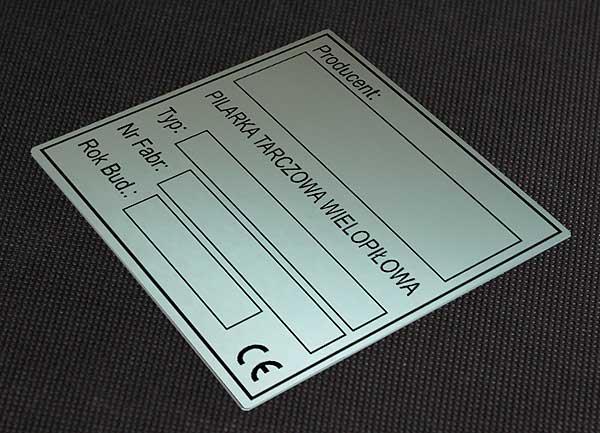 Tabliczka znamionowa do pilarki tarczowej wielopiłowej