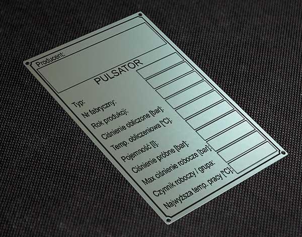 Tabliczka znamionowa do pulsatora