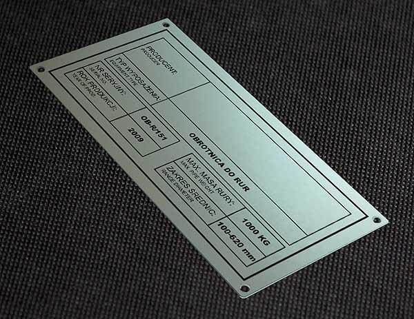 Tabliczka znamionowa aluminiowa do obrotnicy rur