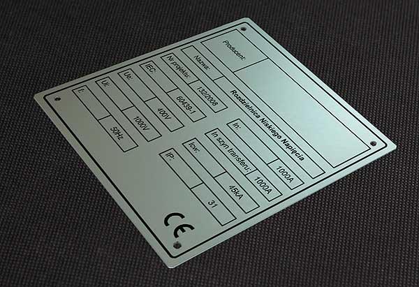 Tabliczka znamionowa metalowa do rozdzielnicy niskiego napięcia