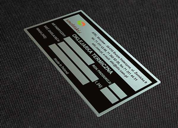 Tabliczka znamionowa do oklejarki termicznej