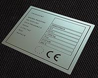 Chemicznie odporana, nieścieralna tabliczka CE do obrotnicy